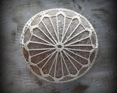 Crocheted Lace Stone, Handmade, Original, Round, Ecru Thread, Large Stone, Smooth, Monicaj