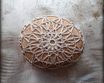 Crocheted Lace Stone, Handmade, Lace Stone, Crocheted, Taupe Thread, Table Decorations, Home Decor, Monicaj