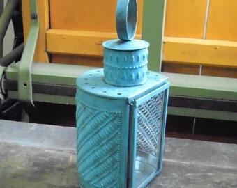 Blue Half Round Lantern