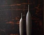 MADE TO ORDER-  2 large stoneware bottle vases in slate matte