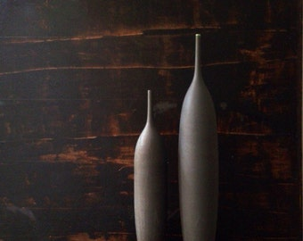 MADE TO ORDER-  2 large stoneware bottle vases in slate matte