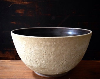 MADE TO ORDER-  Large serving bowl, white crater glaze outside, chocolate satin inside by sara paloma.  White ceramics pottery tabletop