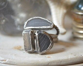 Space Cowboy Stacking Rings Made With Damascus Steel Cabs
