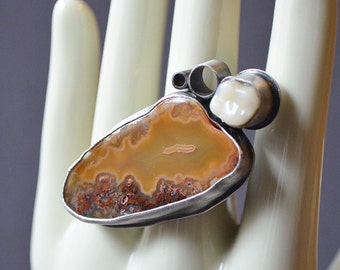 Tough To Chew Ring Made With Fake Tooth And Agate Stone