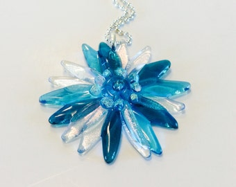 Fused Glass Dichroic Flower Pendant/ necklace (Turquoise)
