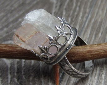 Angelic Petalite and Kunzite Crystal Ring in Sterling Silver