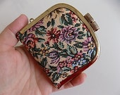 Vintage Tapestery Coin Purse Carpet Bag Wallet Floral Design