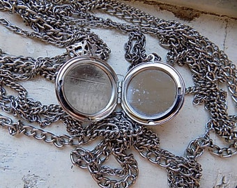 FREE SHIPPING Vintage Silvertone Multistrand Necklace with Center Locket Pendant