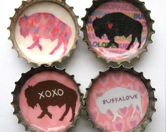 Bison Magnet Set - Buffalove Buffalo Magnets - Bottle Cap Magnets - Set of 4 - Buffalo NY - Buffalove Refrigerator Magnets - Buffalo Gift