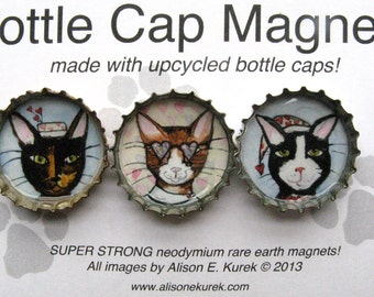 Winter Cat Magnets - Bottle Cap Magnets - Funny Cat Art - Set of 3 - Valentine Cats Gift -  Gift for Cat Lover - Cat Gifts