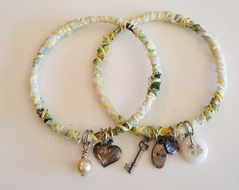 Two Cotton Green and White Wrapped Bangle Bracelets with Charms