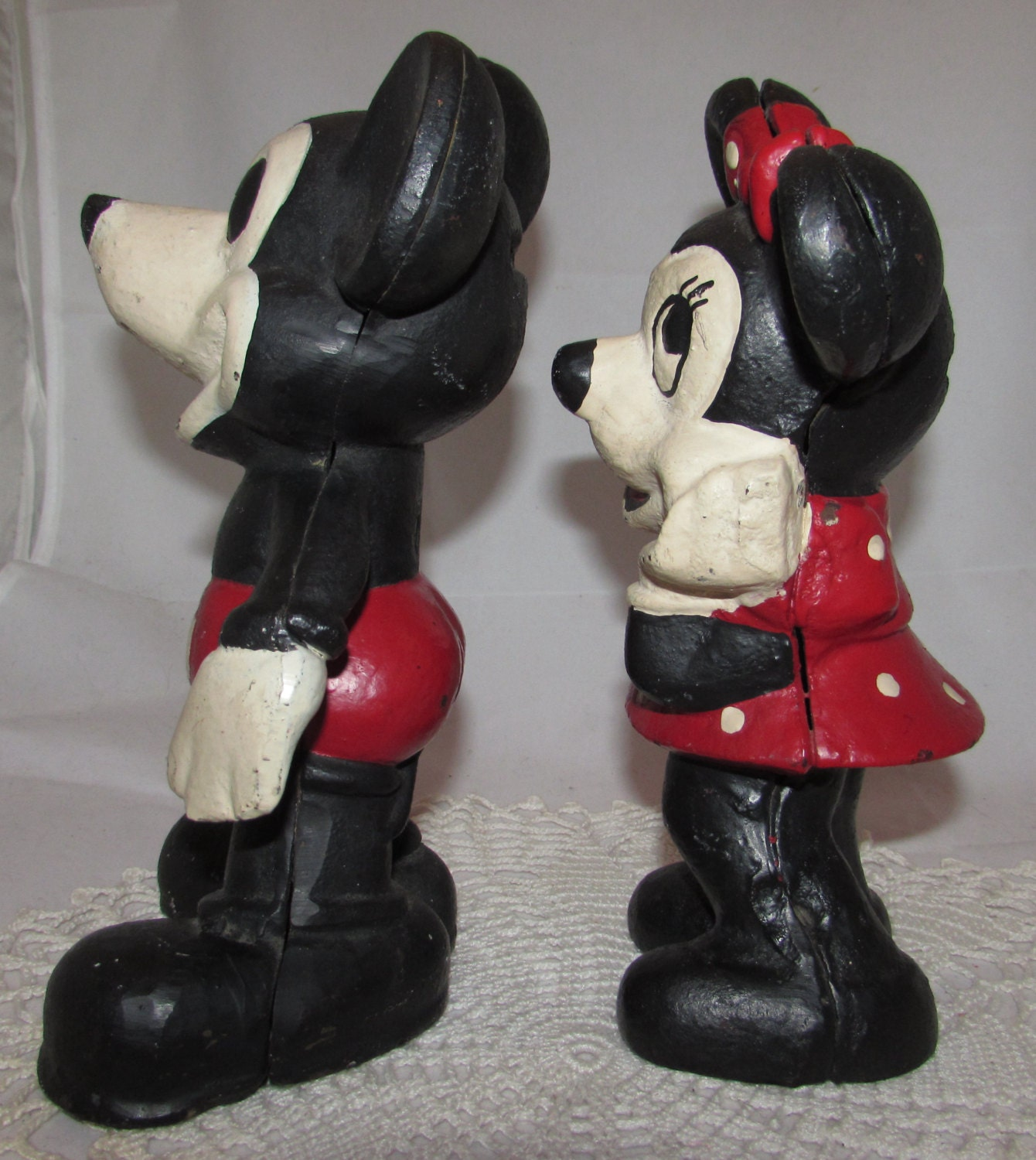 Vintage Cast Iron Mickey And Minnie Mouse Piggy By