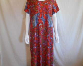 Vintage Colorful Floral Long Dress