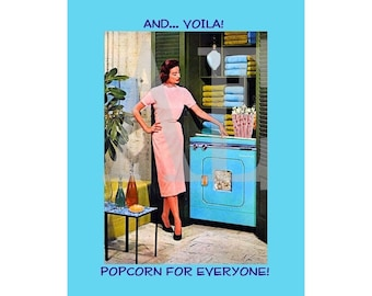 RC-003 Artistic Ephemera Recipe Cards - Set of 8 - Sassy Retro Lady Laundry Room Dryer Popcorn for Everyone - Also Available as Postcards