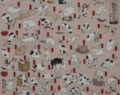 Furoshiki 'Classical Cats by Utagawa' Cotton Japanese Fabric 48cm w/Free Insured Shipping