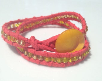 red button wrap bracelet