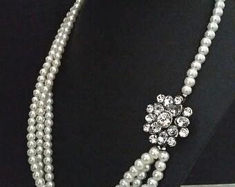 Pearl Wedding Necklace, Bridal Necklace Vintage Wedding Jewelry Necklace, Pearl Bridal Necklace Statement Art Deco Bridal Jewelry Bridesmaid