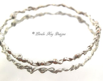 Soldered Wire Bangle Bracelet Soldered Organic Look Simple Silver Look Stacking Bracelet