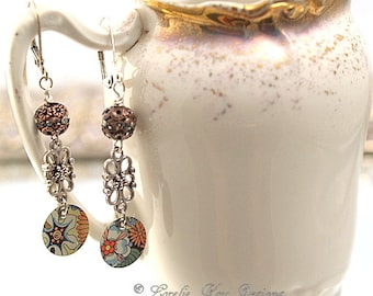 Dainty Flower Tin Earrings Upcycled Tin Floral Motif Summer Dangle Lightweight Earrings