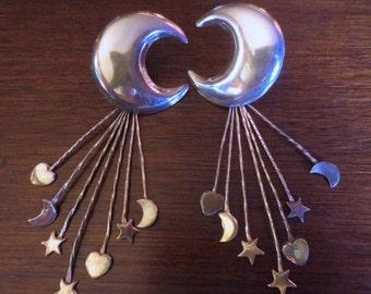 ON SALE Vintage Sterling Silver Crescent Moon Earrings Star Heart HUGE Dangles