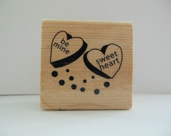 Valentine Rubber Stamp - Be Mine Sweet Heart - Card Making Sentiment - Scrapbooking Sentiment
