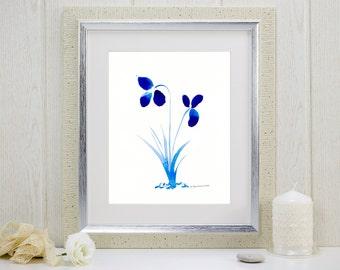"""Watercolor print of cobalt blue flowers: """"True Blue Orchids"""""""