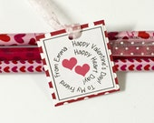 Classroom Happy Valentine's Day Personalized Heart Tag to Tie on to Treats or Party Favors. Show your Love!