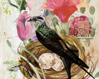 Bird Collage - Wall Art 8 X 10 inches - Printable - Download, print and cut