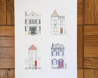 "Rowhouses / Art Print / 13""x19"" and 8.5""x11"""