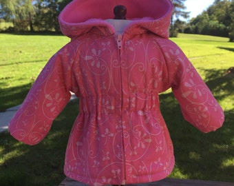 Sale -18 inch doll clothes pretty shades of pink lined and hooded PARKA STYLE JACKET for your favorite 18 inch doll