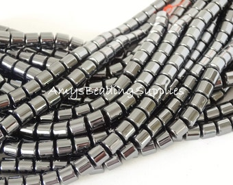 2 Strands, Hematite Drums 6mm, 16-Inch Strands