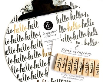 Large Hello Handmade Round Clipboard and Clothespins