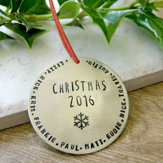 Personalized Christmas Ornament with Snowflake, nickel silver, family names or other wording around edge, 47 character max, Christmas 2017