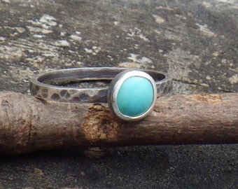 Blue Turquoise Sterling Silver Ring ... Petite 6mm blue turquoise ring dainty ring turquoise stacking ring
