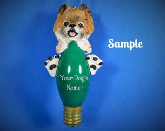 Orange / red / brown and White Pomeranian Dog Christmas Holidays Light Bulb Ornament Sallys Bits of Clay PERSONALIZED FREE