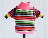 zebra zoe COURTNEYCOURTNEY pink cute xs extra small puppy upcycled jersey knit outfit top rainbow stripe animal print