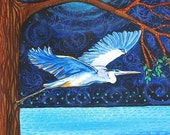 ON SALE Blue Heron Moon First Nation Nature print blue water night Shelagh Duffett