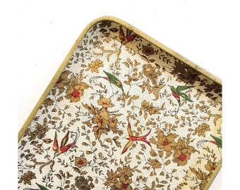 Paper Mache Tray Made in Japan Cream and Gold Trays with Turquoise and Red Birds - Single Tray
