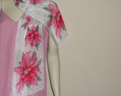 """Vintage Vera Silk Scarf ,Christmas Vivid Red POINSETTIAS on White ,Holiday Season Great Condition Long 52"""" by 10"""""""