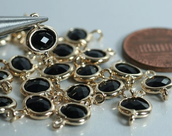 Promotion Sale Framed black glass drop charm connector, earring componenet, necklace pendant, 4 pcs (item ID G05N14GP