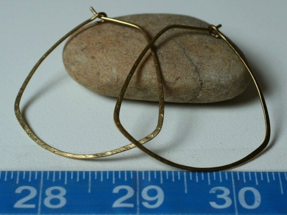 Handmade extra large solid brass trapezoid hoop size 45mmx45mm, one pair (item ID LEB29-1G18)