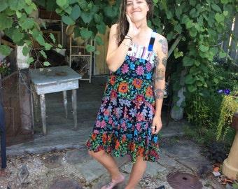Flowers/sundress-medium Upcycled clothing Eco/friendly Artsy-handmade by CarLe Etc...