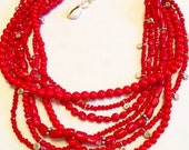 Bright Red Multi Strand Necklace