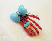 Killer Clown SKELETON HAND Cupcake Hair Clip Gothic Lolita Red Blue Dia de los Muertos Day of the Dead rockabilly psychobilly pin up