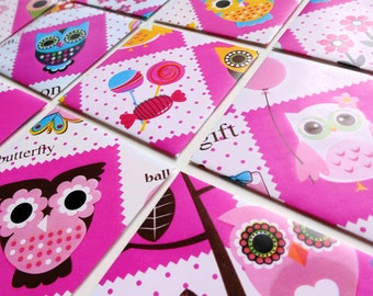 Owls and Candies, Candy Party, Cute Stationery Set, Greetings, Blank Note Cards, Gift Under 10, Thank You, Gift Tags, Small Square Envelopes