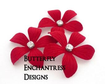 Red Wedding Hair Piece, Bridal Hair Flowers, Rustic Woodland Hair Accessories - 3 Red Caribbean Plumeria Hair Pins - Rhinestone Centers