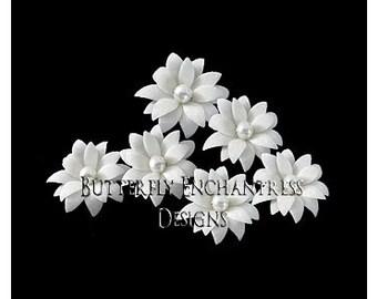 White Hair Flowers, Wedding Hair Accessories, Bridal Bridesmaid Gift - 6 White Vintage-Inspired Mini Dahlia Flower Hair Pins - Pearl