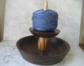 Knit Spinner with Bowl (Black Walnut and Zebrawood) RESERVED for iluvtmc