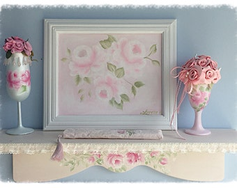 "White Framed ART 8""x10"" Hand Painted Pale White Roses Shabby Chic ecs cst schteam svfteam"