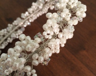Hand beaded white wreath
